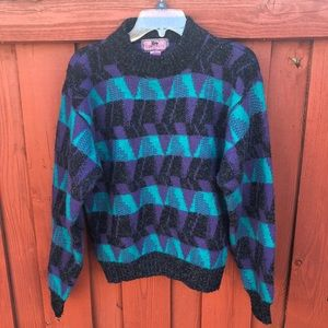 Vintage 80s artsy Geo metric sweater hipster small